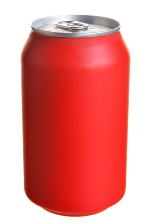 Red drink can isolated over white background photo