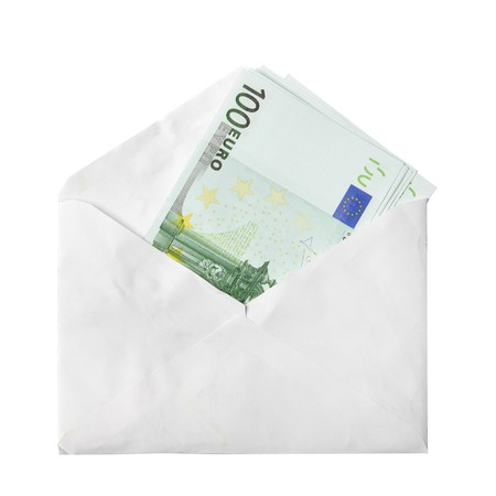 Euro banknotes in envelope isolated over a white background photo