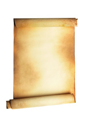 parchment texture: Ancient scroll isolated over a white background Stock Photo
