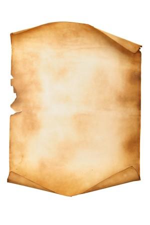 pergamino: Antiguo manuscrito aislado durante un fondo blanco Foto de archivo