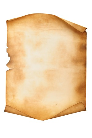 parchemin: Manuscrit ancien isol� sur un fond blanc