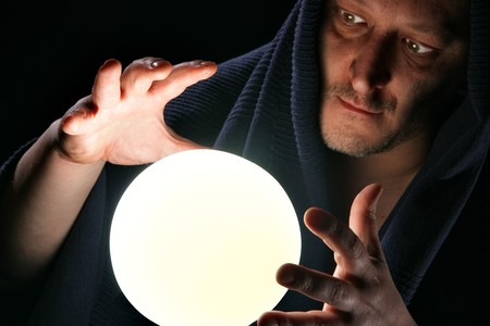 Wizard with glowing magical orb close-up Stock Photo - 4406872