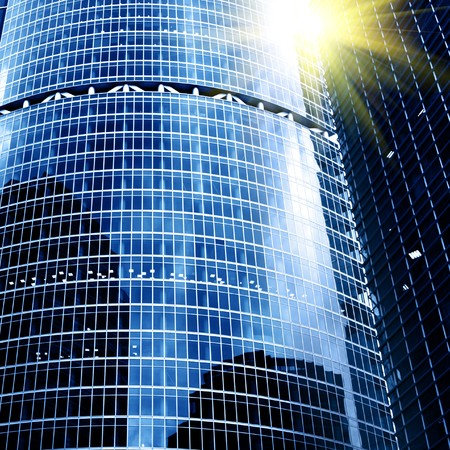 Modern skyscrapers close-up toned in blue color Stock Photo - 4418447
