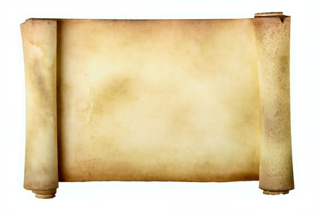 manuscripts: Ancient scroll isolated over a white background Stock Photo