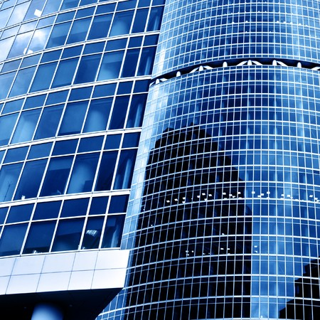 Modern skyscrapers close-up toned in blue color Stock Photo - 4461381