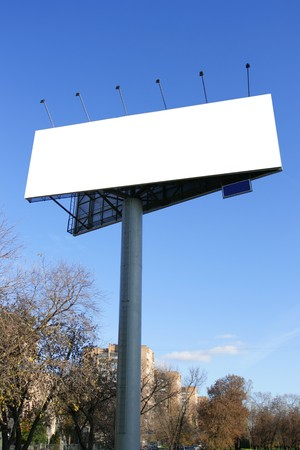 Single blank billboards on a street close up Stock Photo - 4461357