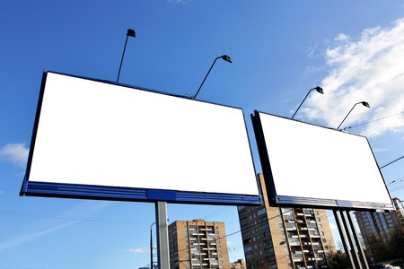 Two blank billboards on a street close up Stock Photo - 4461281