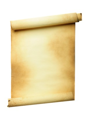 threadbare: Ancient manuscript isolated over a white background