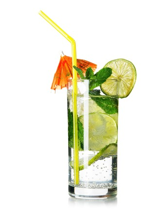 Glass of mojito isolated over white background photo