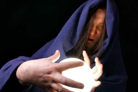 Wizard with glowing magical orb close-up Stock Photo - 4538531