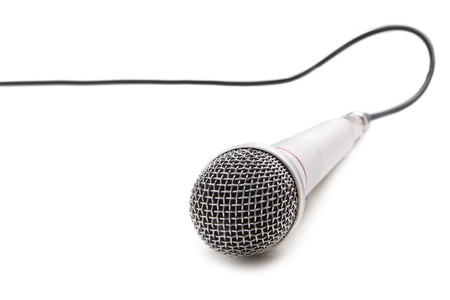 Microphone with cable isolated over white background photo