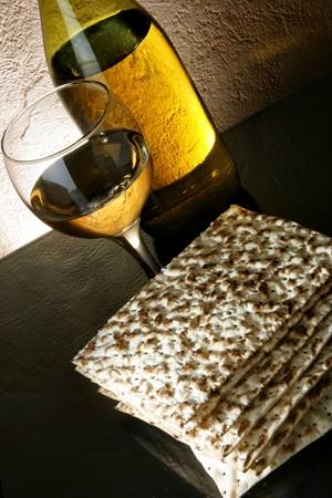 matzoth: Still-life with wine and matzoh (jewish passover bread)