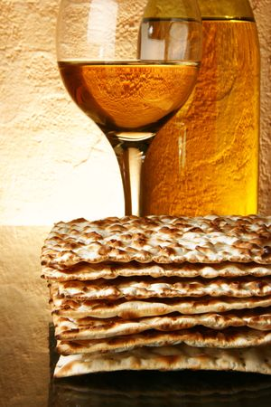 stilllife: Still-life with wine and matzoh (jewish passover bread)