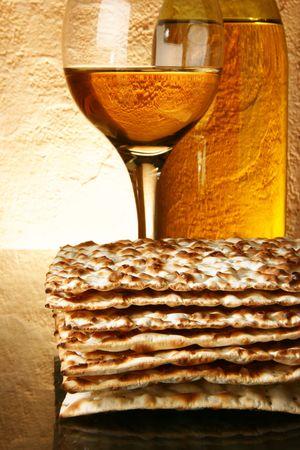purim: Still-life with wine and matzoh (jewish passover bread)