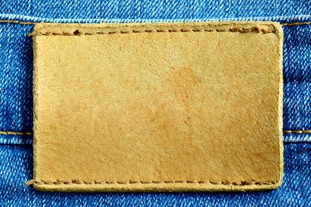 leather label: Jeans with blank leather label for your own text