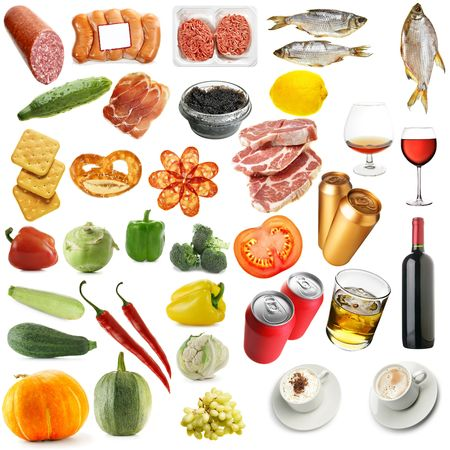 Variety food isolated over a white background photo