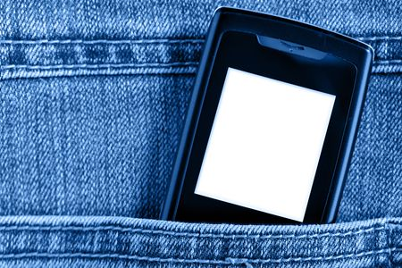 Cellular phone in jeans pocket,  put your own text on the screen photo