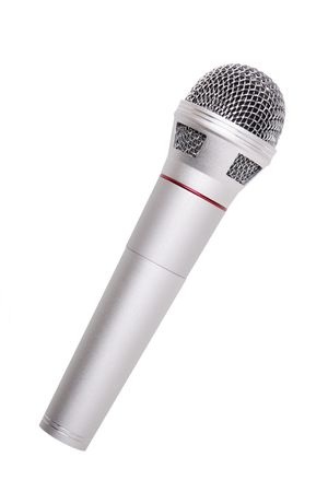 Silver microphone close-up isolated over white background photo