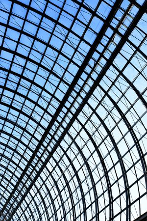 view of an atrium in a building: Glass roof of trade center, may be used as background