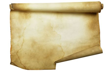threadbare: Ancient scroll isolated over a white background Stock Photo