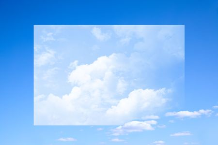 puffy: Blue sky and clouds, with surreal frame