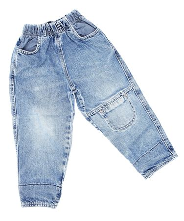 children's wear: Childrens wear - pair of jeans isolated over white background Stock Photo