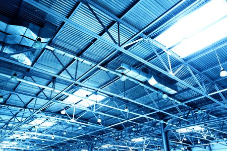 skylight: Ceiling of storehouse toned in the blue color Stock Photo