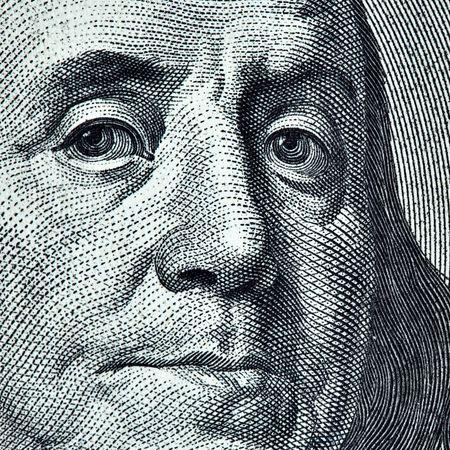 Benjamin Franklin portrait from 100 dollars banknote