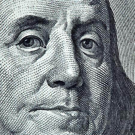 benjamin franklin: Benjamin Franklin portrait from 100 dollars banknote