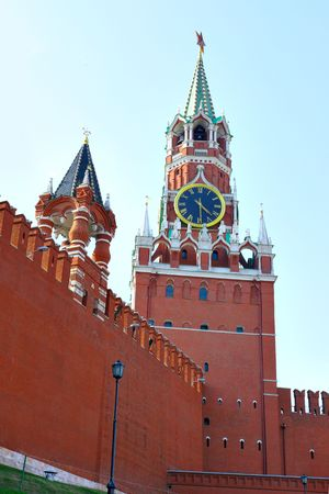 spasskaya: Red square, Spasskaya tower of Kremlin, Moscow, Russia Stock Photo