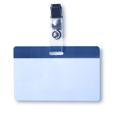 name tags: Blank badge close-up isolated over white background Stock Photo