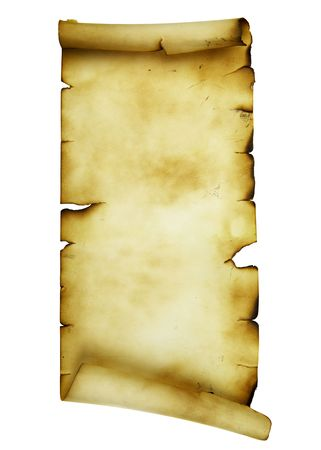Ancient scroll isolated over a white background Stock Photo