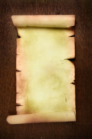 scroll border: Ancient scroll on wooden table close up Stock Photo