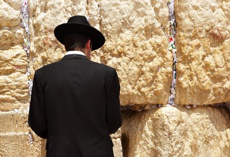 judaism: Jew at the wailing western wall. Jerusalem. Israel. Stock Photo