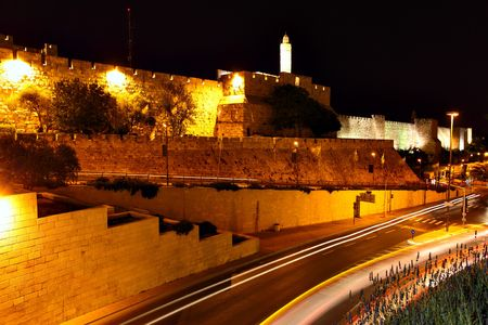 The surrounding wall of Old city at night. Jerusalem, Israel photo