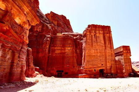 nabataean: Ancient nabataean buildings at Petra town, Jordan