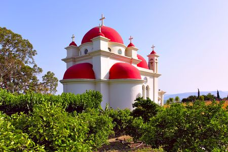 apostles: Greek Ortodox Church of the Seven Apostles in Capernaum. Israel Stock Photo