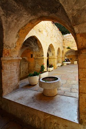 Courtyard at Mount Zion, Jerusalem, Israel photo