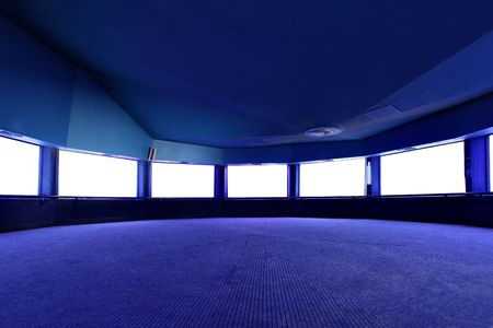architectural architectonic: Interior with blank white screens, put your own images here Stock Photo