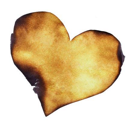papel quemado: Parcialmente quemado cerca del coraz�n de papel
