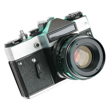 Vintage manual camera isolated over white background Stock Photo - 5112602