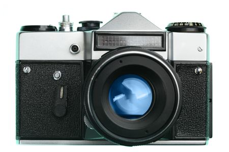 Vintage camera from front isolated over white background photo