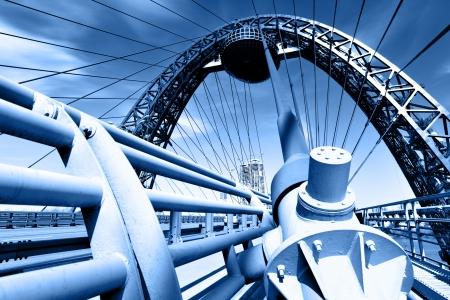 cable bridge: Modern suspension bridge toned in blue color. Moscow. Russia (Zhivopisny bridge) Stock Photo