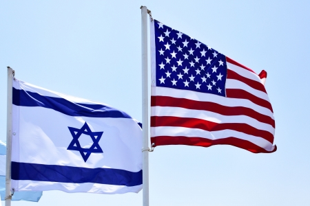 Flags of USA and Israel in the wind close-up Stock Photo - 5148383