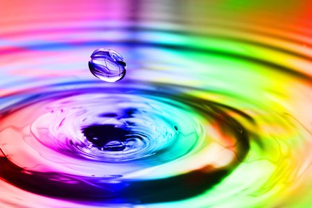 Colorful splash with round drops macro Stock Photo