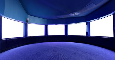 hall monitors: Interior with blank white screens, put your own images here Stock Photo