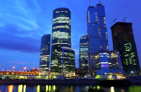 Modern skyscrapers at night. Moscow City. Russia. photo