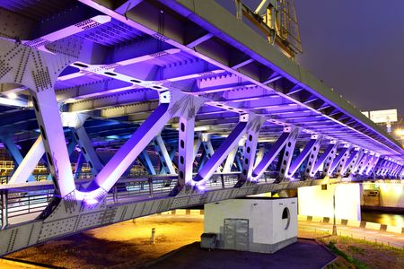 bridge footing: Modern bridge with  illuminations at night. Moscow. Russia
