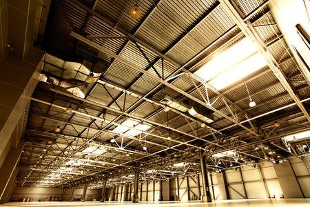 Wide angle shot of empty warehouse sepia toned Stock Photo - 5258759
