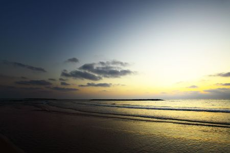 Beach at sundown, may be used as background photo